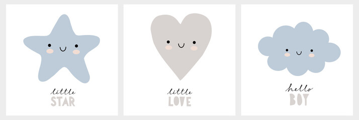 Cute Nursery Vector Wall Art Set. Funny Smiling Star, Lovely Gray Heart and Fluffy Blue Cloud Isolated on a White Background. Hello Boy. Little Love. Little Star. Baby Shower Vector Illustrations.