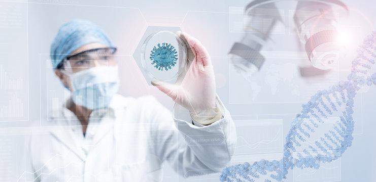 scientist holding a petri dish in  scientific background
