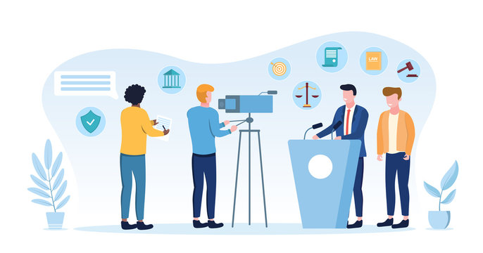 Law and governance concept with journalist or videographer filming a law maker or politician speaking on a podium, vector illustration