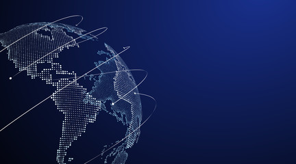 Obraz 3D earth graphic symbolizing global trade, vector illustration. - fototapety do salonu
