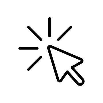 Computer pointer, cursor or mouse arrow, click, outline design. Black icon on white background