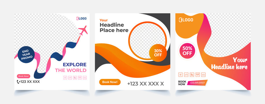 Travel social media post, Template banner for travel ads with abstract shape, Vector illustration.