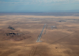 Aerial picture of the airport of Walfis Bay in western Namibia