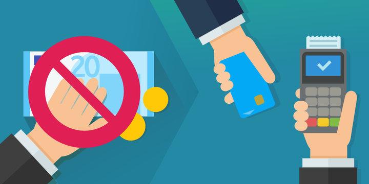 Ne plus payer en espèces et payer par carte bancaire (euros flat design)