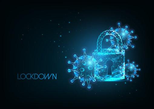 Futuristic coronavirus covid-19 Pandemic lockdown banner with glow ow poly virus cells and padlock