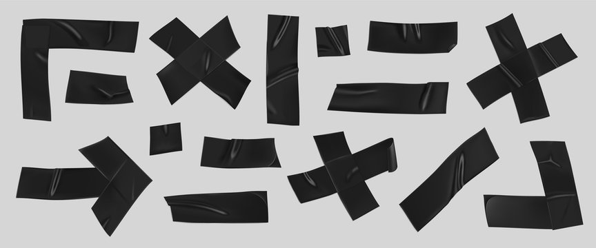 Black duct tape set. Realistic black adhesive tape pieces for fixing isolated on grey background. Scotch arrow, cross, corner and paper glued. Realistic 3d vector illustration