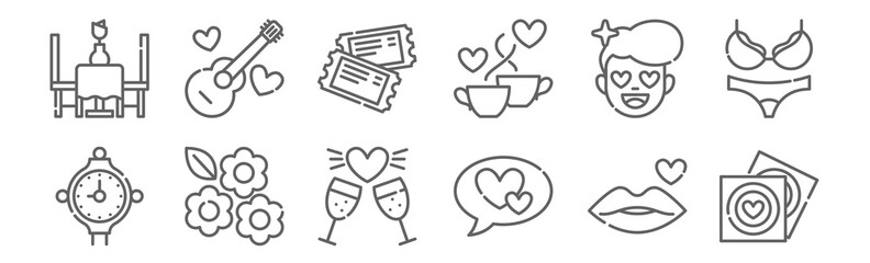 set of 12 date night icons. outline thin line icons such as condoms, talk, flowers, in love, tickets, music