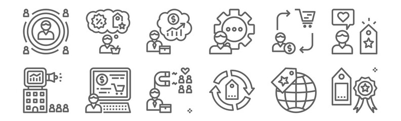 set of 12 customer engagement icons. outline thin line icons such as quality, cycle, computer, conversion, piction, customer