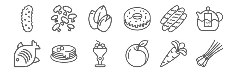 Fototapeta set of 12 gastronomy collection icons. outline thin line icons such as chives, peach, pancakes, bread, seeds, mushrooms obraz