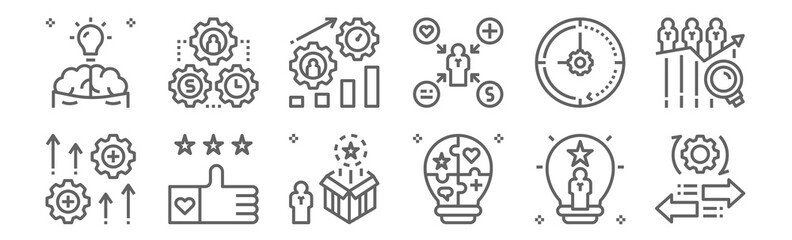 set of 12 talent management icons. outline thin line icons such as mobility, skills, like, time management, performance, management