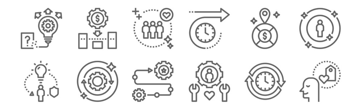 set of 12 sustainable competitive icons. outline thin line icons such as loyalty, service, outstanding, market positioning, customers, low cost