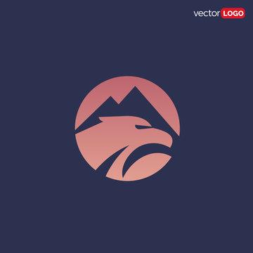 mountain and eagle icon/symbol/Logo Design Vector Template Illustration