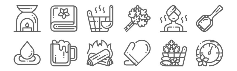 set of 12 sauna icons. outline thin line icons such as pressure, mitten, beer, sauna, bucket, towel
