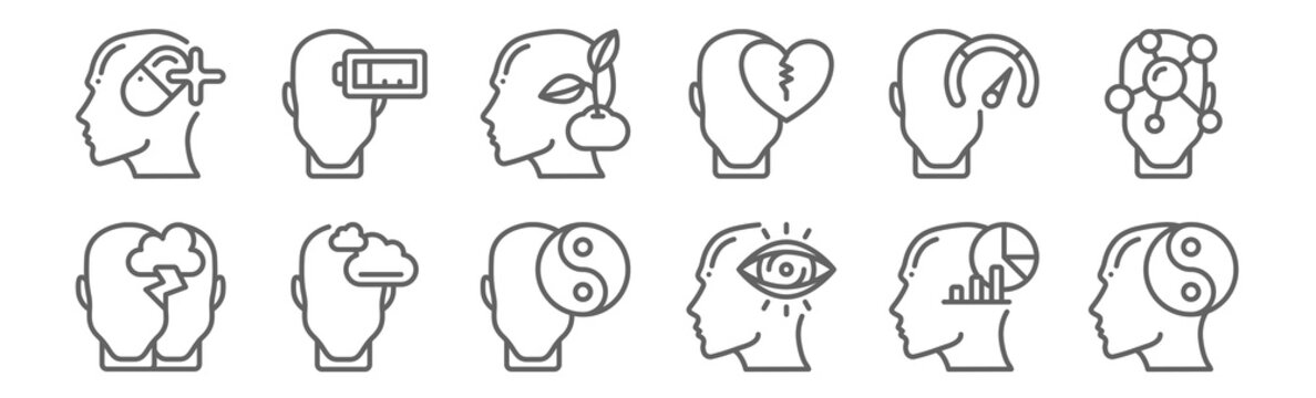 set of 12 human mind icons. outline thin line icons such as balance, vision, dreaming, strenght, growth, exhausted