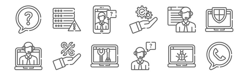 set of 12 tech support icons. outline thin line icons such as phone, customer support, settings, online support, smartphone, server