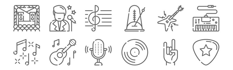 set of 12 music icons. outline thin line icons such as guitar pick, vinyl, ukelele, electric guitar, treble clef, singer