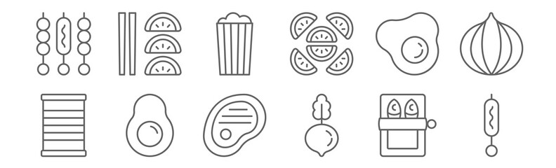 set of 12 food icons. outline thin line icons such as skewer, beetroot, avocado, fried egg, popcorn, starter