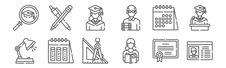 set of 12 university icons. outline thin line icons such as card, student, calendar, calendar, graduated, pencil