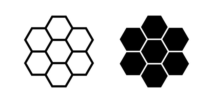 Honeycomb Icon Vector Black Silhouette and Outline Isolated on White