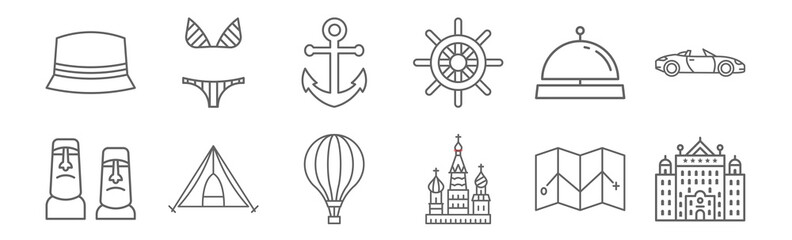 set of 12 travelling icons. outline thin line icons such as big hotel, saint basils cathedral, big tent, hotel bell, big anchor, stripe bikini Papier Peint