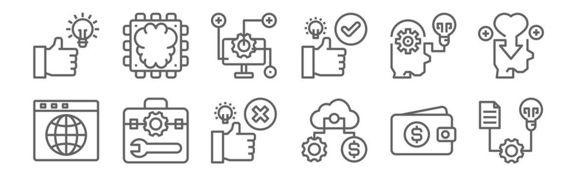 set of 12 seo icons. outline thin line icons such as project, process, toolbox, process, process, chip