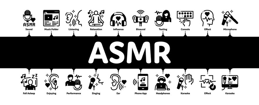 Asmr Sound Phenomenon Minimal Infographic Web Banner Vector. Asmr Autonomous Sensory Meridian Response, Microphone And Earphones, Music Player Illustrations