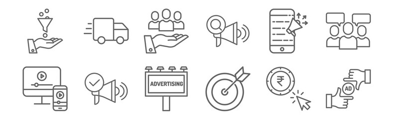 set of 12 ads icons. outline thin line icons such as ad, strategy, ads, ads, value,