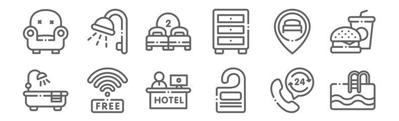 set of 12 hotel icons. outline thin line icons such as swimming pool, door hanger, wifi, location, two beds, shower