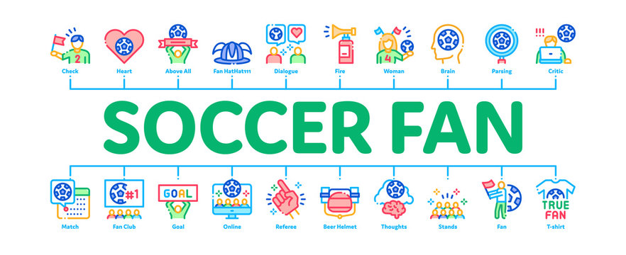 Soccer Fan Attributes Minimal Infographic Web Banner Vector. Soccer Fan Hat And Glove In Hand Form, Heart And Air Beeper, T-shirt And Goal Nameplate Illustrations