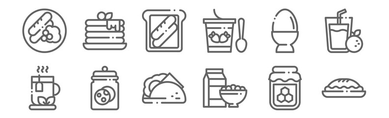 set of 12 breakfast icons. outline thin line icons such as pie, cereal, cookie, egg, toast, pancake