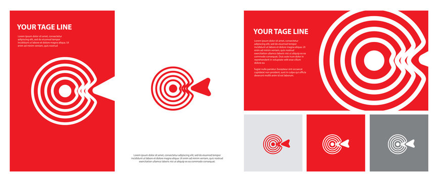 Target logo. Red aim, arrow, compass, speech bubble, Idea concept, perfect hit, winner, target goal icon. Success abstract logo