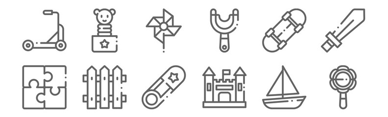 set of 12 children toys icons. outline thin line icons such as rattle, castle, fences, skateboard, pinwheel, jack in the box
