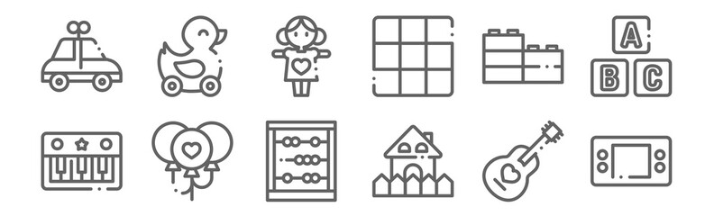 set of 12 children toys icons. outline thin line icons such as game console, house, balloon, lego, doll, duck
