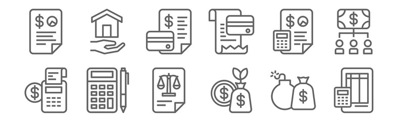 set of 12 accounting icons. outline thin line icons such as ledger, profit, accounting, accounting, mortgage loan