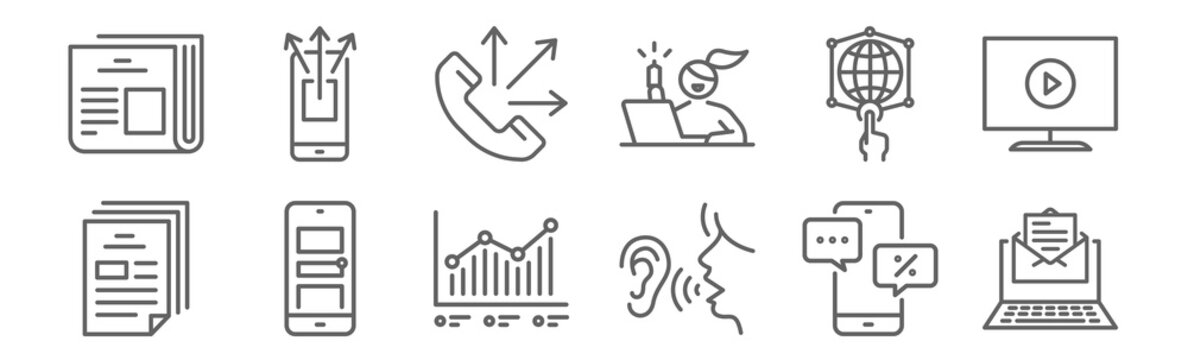 set of 12 advertising icons. outline thin line icons such as email marketing, word of mouth, advertising, digital advertising, telemarketing, sharing