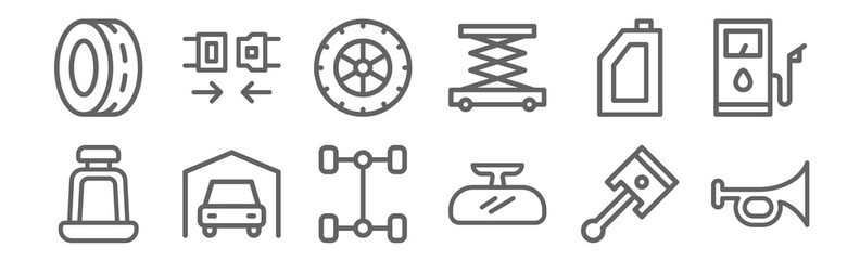 set of 12 automobile icons. outline thin line icons such as horn, rearview mirror, car, gasoline, tire, seat belt Fototapete
