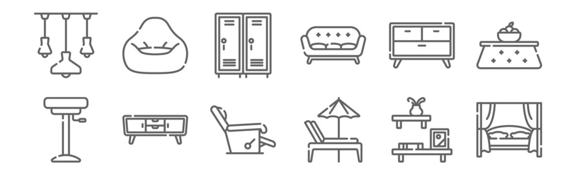 set of 12 furnitures icons. outline thin line icons such as canopy bed, beach chair, tv stand, drawer, school locker, bean bag