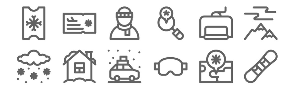 set of 12 winter travelling icons. outline thin line icons such as snowboard, ski goggles, house, ski lift, man, ticket