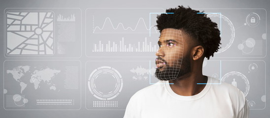 Personal data collection. Scan of African American male against virtual screen with diagrams, copy space Wall mural