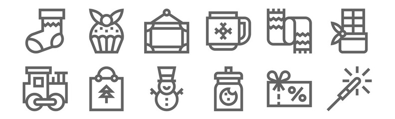 set of 12 christmas presents icons. outline thin line icons such as fireworks, cookie jar, christmas bag, scarf, frame, muffin