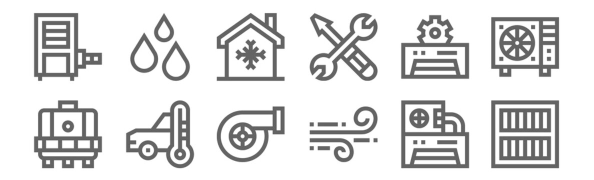 set of 12 air conditioner icons. outline thin line icons such as air filter, wind, car, air conditioner, house, humidity