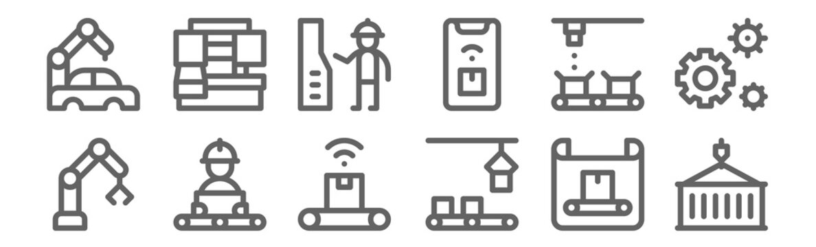 set of 12 mass producction icons. outline thin line icons such as container, conveyor, conveyor, conveyor, engineer, packing machine