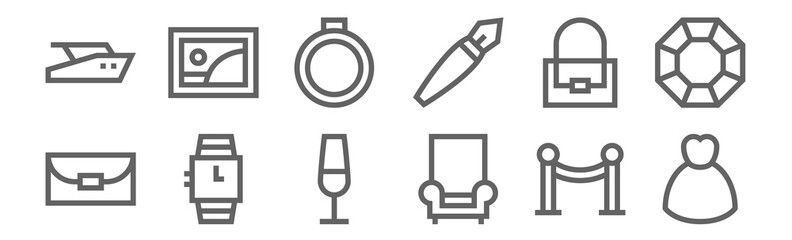 set of 12 luxury shop icons. outline thin line icons such as dress, armchair, wristwatch, handbag, ring, picture