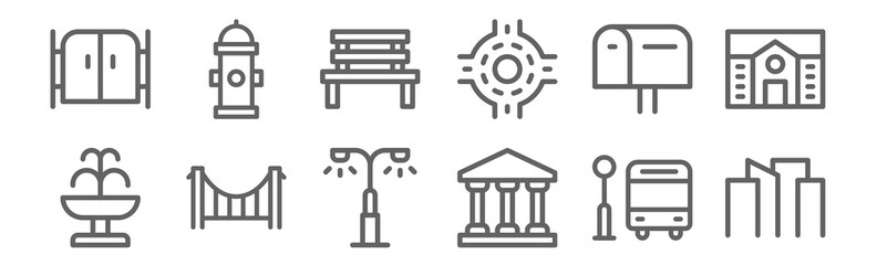 set of 12 city icons. outline thin line icons such as cityscape, goverment, bridge, mailbox, bench, fire hydrant