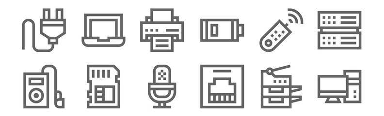 set of 12 hardware icons. outline thin line icons such as computer, ethernet, memory card, remote control, printer, laptop