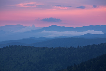 Landscape at twilight of the Great Smoky Mountains from Clingman's Dome, North Carolina, USA Wall mural