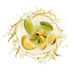 Fototapete - wave of splashing lemon juice with lemon slices, isolated on white