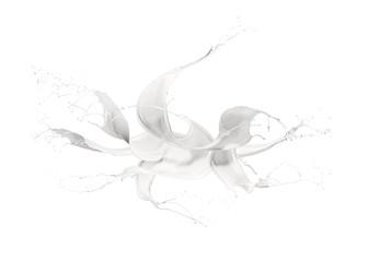 Fototapete - wave of milk with splashing, isolated on white