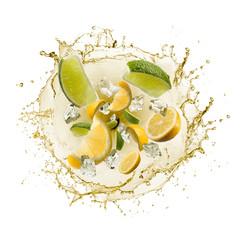 Fototapete - wave of splashing lemon juice with lemon slices and ice cube, isolated on white