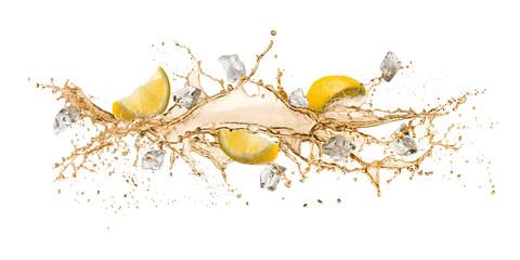 Fototapete - tea wave splashing with lemon slices and ice cube, isolated on white.